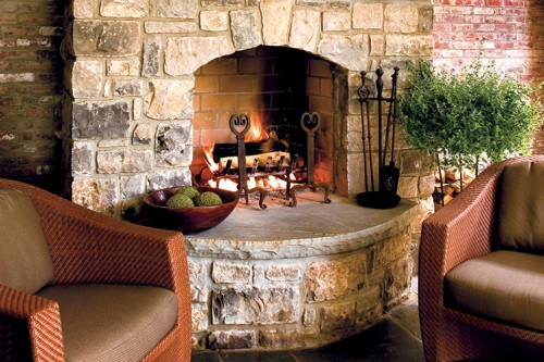 Outdoor fireplace on a patio