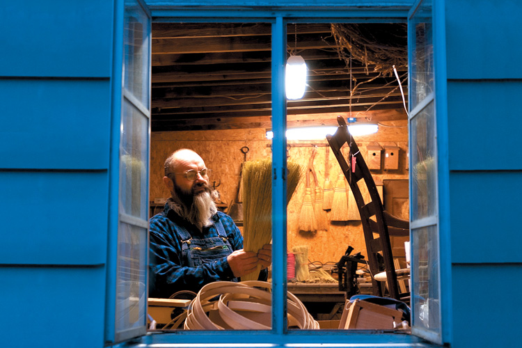 Broom Maker Jack Martin makes Hockaday Handcrafted Brooms in Selmer, Tennessee