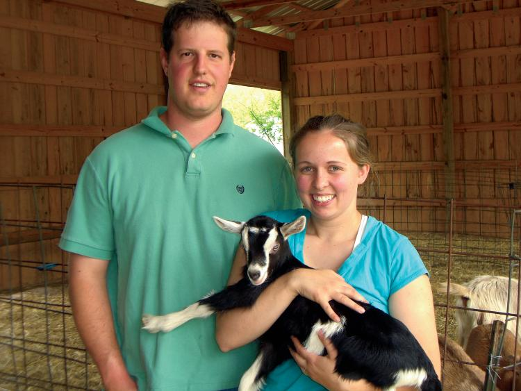 Noble Springs Dairy Goat Farmers Dustin and Justyne Noble, Franklin, TN