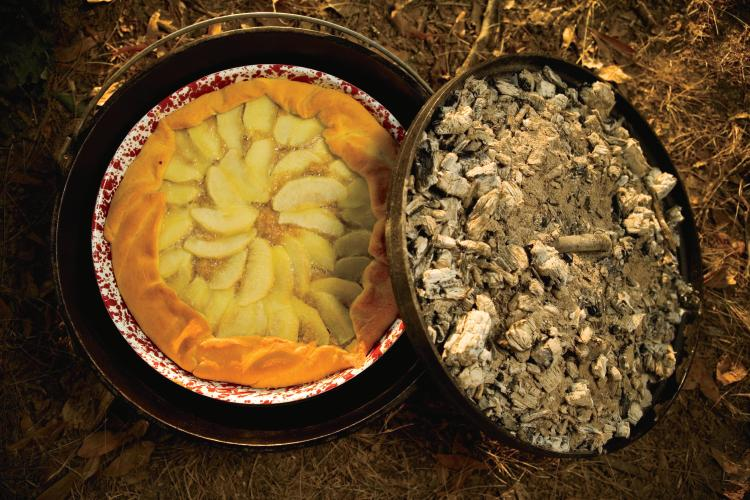 A Crescent Apple Tart cooked in a Dutch oven