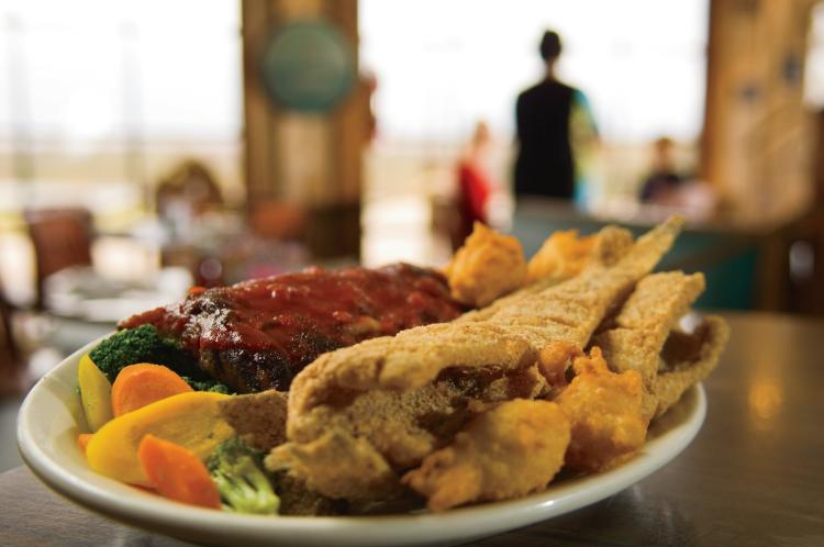 A plate of catfish and ribs from the Catfish Hotel restaurant in Shiloh, TN.