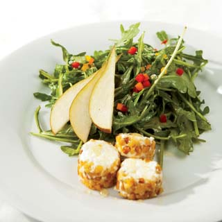 Arugula and Pear Salad With Pine Nut-Crusted Goat Cheese