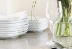 place setting &amp; white dishes, peonies - home  entertaining