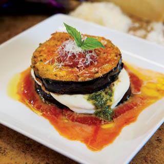 Eggplant, Mozzarella and Pesto Gratins