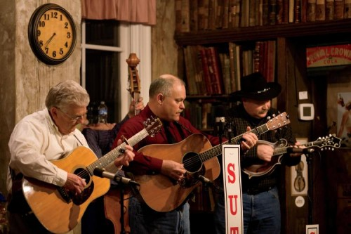 Ken Scoggins and Millers Creek perform during the Sutton Ole Time Music Hour at the T.B. Sutton General Store in Granville, TN.
