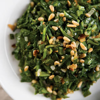 Turnip Greens with Pine Nuts and Spicy Peppers Recipe