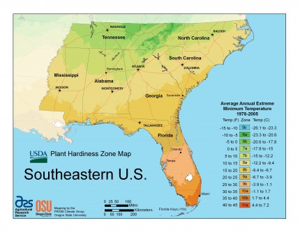 Southeast Region Plant Hardiness Zone Map