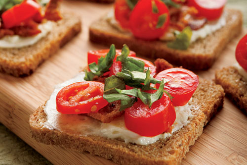 Open Faced Bacon, Tomato and Basil Sandwiches Recipe