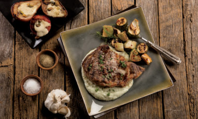 Garlic Brown Butter Ribeye with Cauliflower Puree